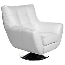 Bruno Accent Chair & Ottoman - White