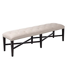 Rencourt Tufted Bench - Linen w/Molasses Legs