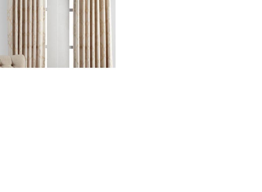 luxe panels - ivory/gold | cuddler monaco living room inspiration