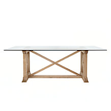 Rencourt Glass Top Rectangular Dining Table