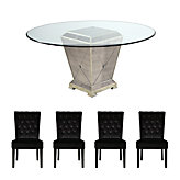"Borghese 60"" Dining Table + 4 Lola Side Chairs - Chocolate"