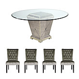 "Borghese 60"" Dining Table + 4 Lola Side Chairs - Champagne"