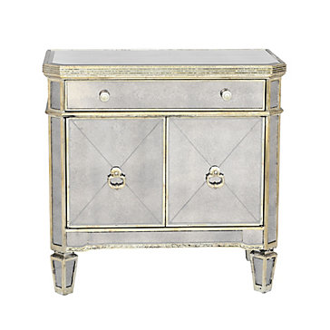 sparkles bubbles mirrored night stand