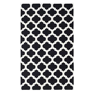 Casablanca Dhurrie Rug - Black/Ivory