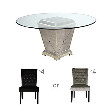 Chic Combo - Borghese Table + 4 Lola Side Chairs