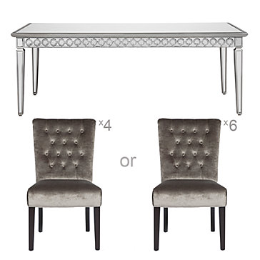 Chic Combo - Sophie Mirrored Dining Table + Lola Side Chairs