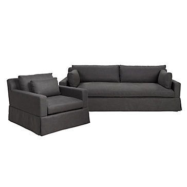 chic combo theodore charcoal sofa chair sofa combos chic