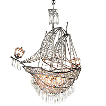 Crystal Ship Chandelier Hanging Lamps Lighting Decor