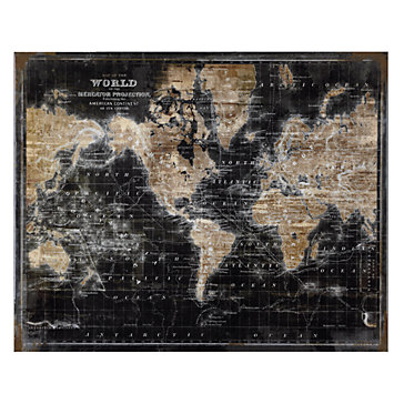 Golden World Map Glass Coat Art In Multiple Sizes