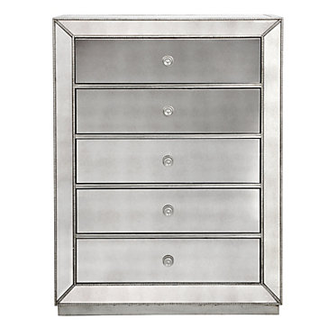 Omni Mirrored 5 Drawer Chest Chests Amp Dressers Bedroom