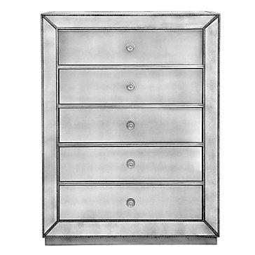 Omni Mirrored 5 Drawer Chest Stylish Mirrored Drawers