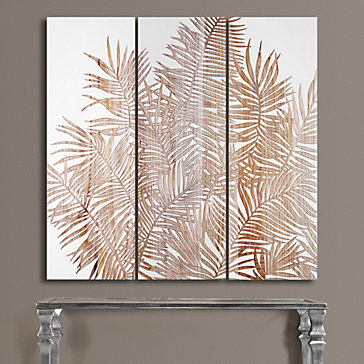 Palm Fronds Panel Set Of 3 Wall Decor Mirrors Amp Wall