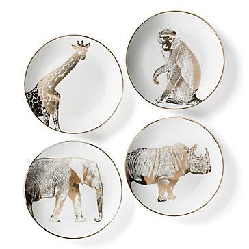 Safari Plates Set Of 4 Sequoia Gold Dining Room