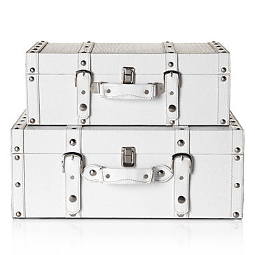 Z Gallerie Veneto Suitcases White Set of 2