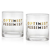 Optimist/Pessimist Double Old-Fashioned - Set of 4