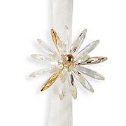 Crystal Flower Sphere Napkin Ring - Set of 4