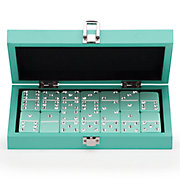 Bling Domino Set With Aquamarine Lacquer Case