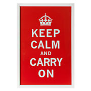 Framed Poster of Keep Calm and Carry On in Red
