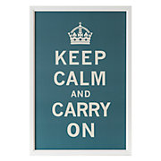 Framed Poster of Keep Calm and Carry On in Blue