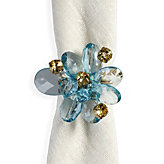 Flora Del Mar Napkin Ring - Set of 4 - Turquoise