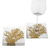 Coral Beverage Napkin - Gold