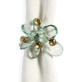 Flora Del Mar Napkin Ring - Set of 4 - Aquamarine