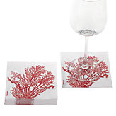 Coral Beverage Napkin - Red