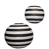 Portofino Lanterns - Black & White Stripe