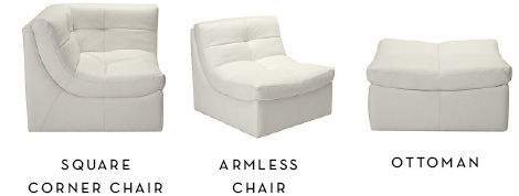 Square Corner CHair. Armless Chair. Ottoman.