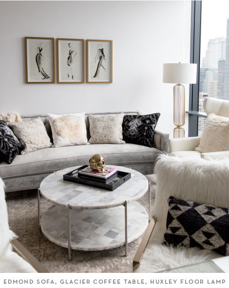 Edmond SOfa, Glacier Coffee Table, and Huxley Floor Lamp
