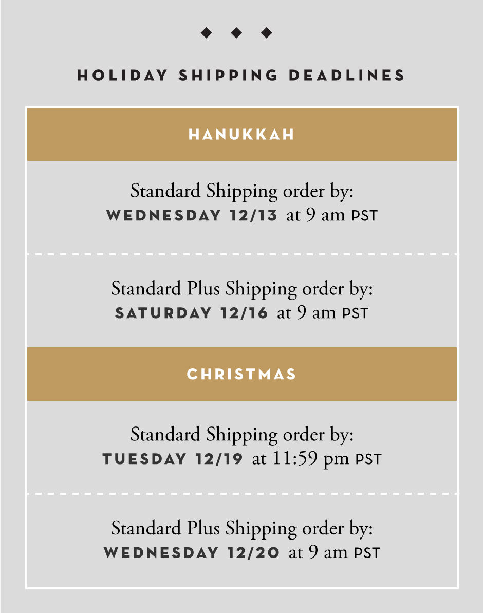 Holiday Deadlines