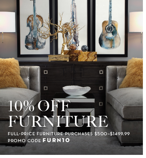 10% off full-price furntiture purchases $500-$1499.99, promo code FURN10