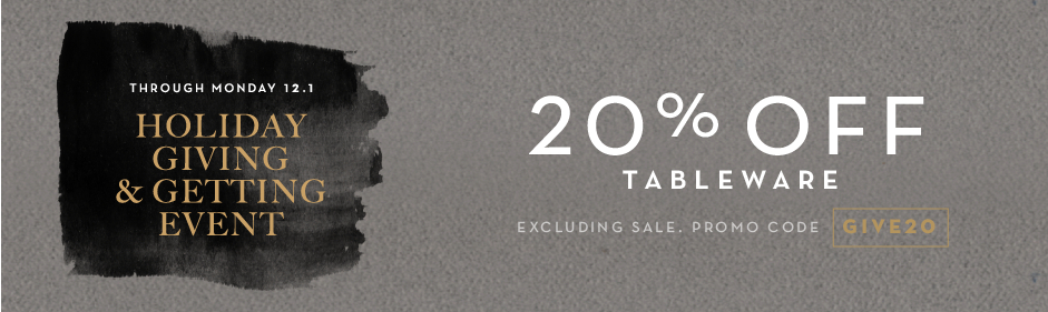 20% off bedding, excluding sale. Promo code GIVE20.