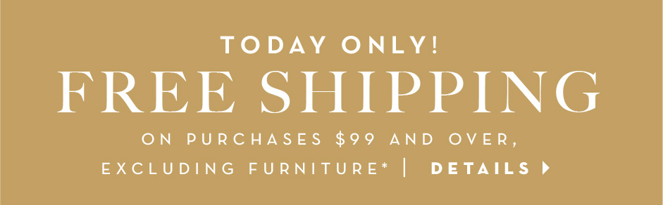 July 25, 2016 only, free shipping on purchases $99 and over, excluding furniture