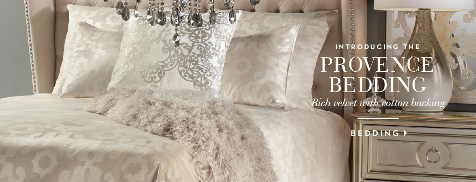 Introducing the Provence Bedding. Rich velvet with cotton backing. Shop bedding >