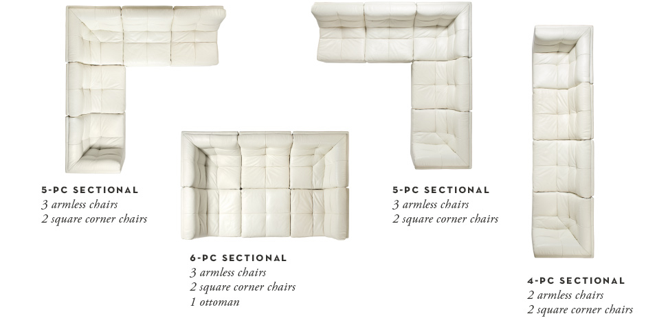 4 configuration examples - 5 piece left, 5 piece right, 6 piece square, and 4 piece long