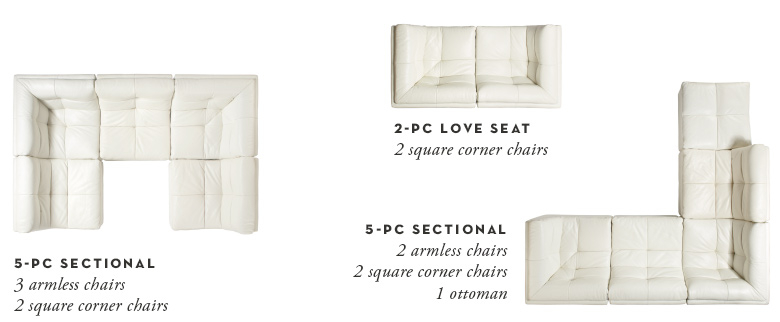 3 configuration examples - 5 piece cube, 2 piece loveseat, 5 piece sectional with ottoman