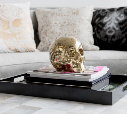 Z Gallerie's Morton SKull, the Sugar Skull Pillow and the Manali Pillow
