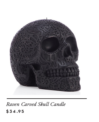 raven skull candle