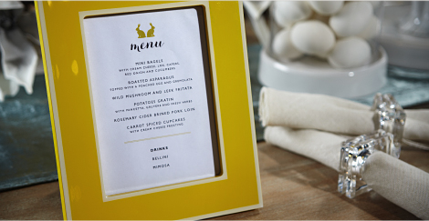 menu  Offer your guests a hint of the unexpected by displaying your fare offerings in a stylish manor. Decorative photo frame, such as our Concerto frame, make for a chic menu presentation while adding an additional layer of decorative decor to the tablescape. Download the menu template