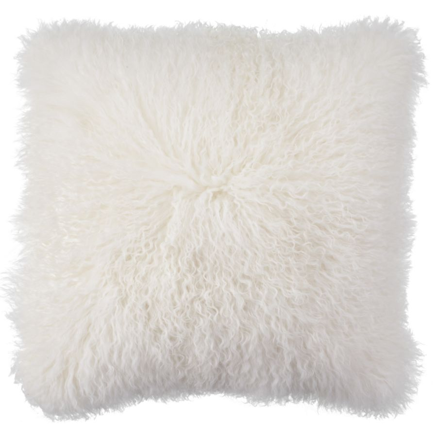 White Mongolian Fur Pillow | Chic Accents