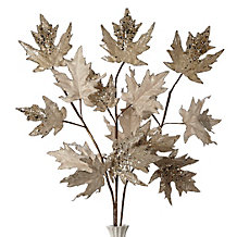 Beaded Leaf Branch - Set of 3
