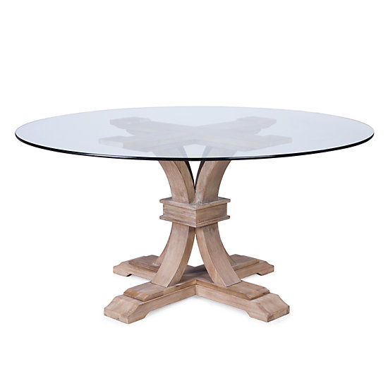 Superbe Archer Wash Oak Fixed Pedestal Table With Glass Top