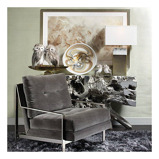Axel Accent Chair Brushed Silver Vapor Sectional