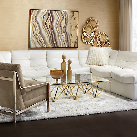 Axel Accent Chair Champagne Modern Metallics Spring