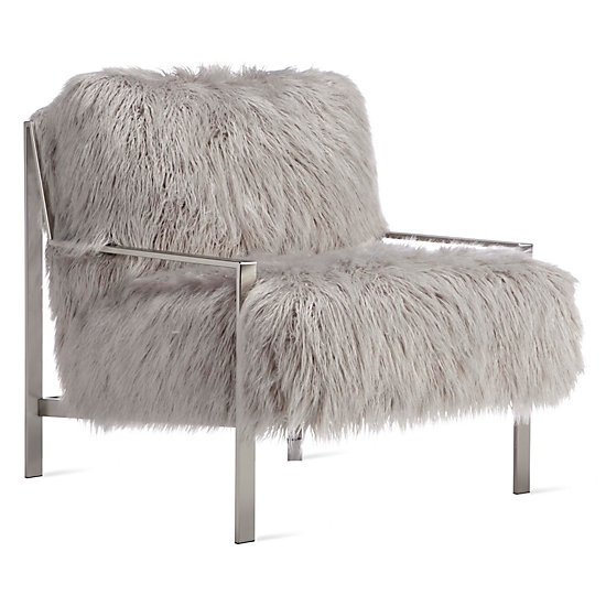 Axel Fur Accent Chair   Brushed Silver