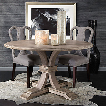 Archer Natural Grey Fixed Pedestal Dining Table Archer