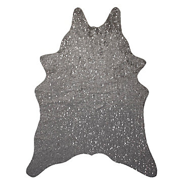 Ayi Metallic Faux Cowhide Rug Grey Silver Stylish