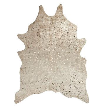 Ayi Metallic Faux Cowhide Rug Ivory Gold