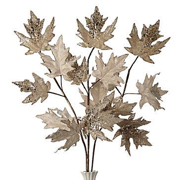 Beaded Leaf Branch - Set of 3